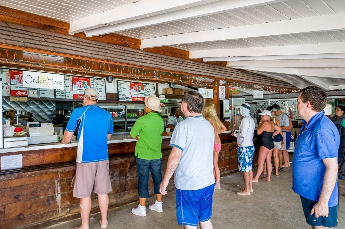 The Magens Bay concessions stand at Magens Bay Beach on St. Thomas, U.S. Virgin Islands.