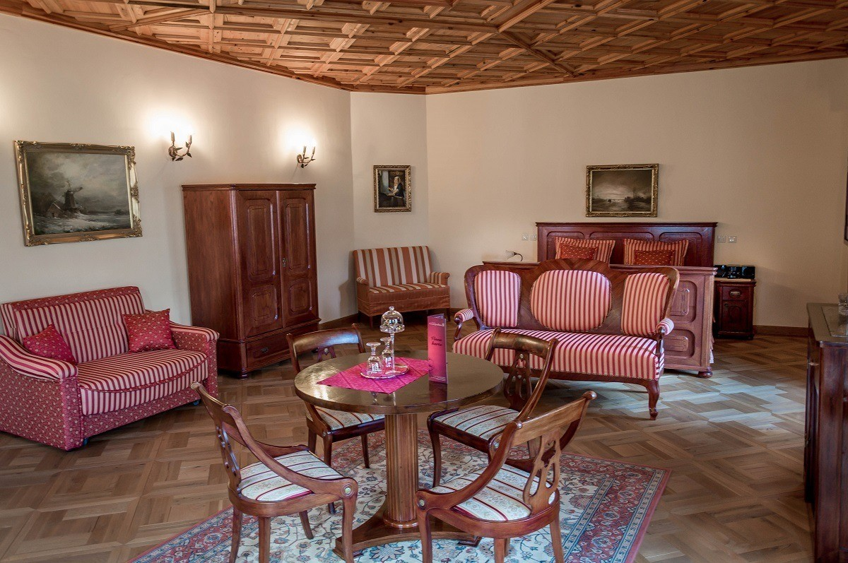 The Grand Bedroom in the Royal Suite at the Penzion Cosmopolitan in Banska Stiavnica, Slovakia.