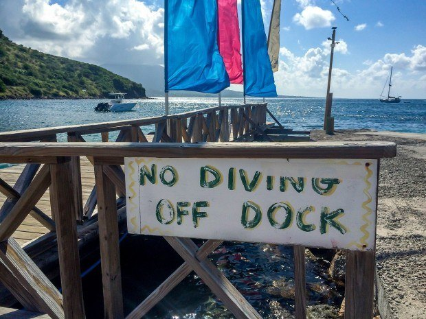The dock on Cockleshell Beach where ferries depart to Nevis.