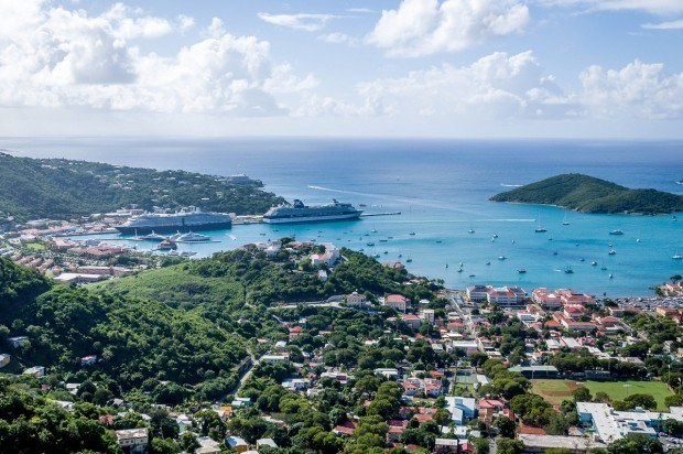 The Charlotte Amalie St Thomas cruise port as viewed from one of the mountains.  The two cruise ships are at the Havensight Dock St Thomas cruise port.