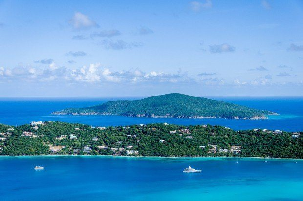 The view of Magens Bay from Drake's Seat on St. Thomas.