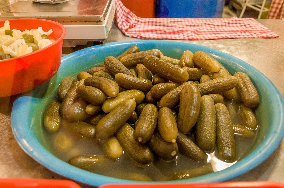 In the basement of the Budapest Central Market, we discovered large containers of pickles for sale.