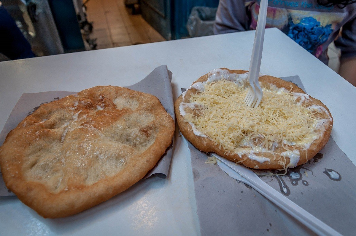 During our Taste Hungary culintary walk, we enjoyed the traditional langos at the Budapest Central Market.