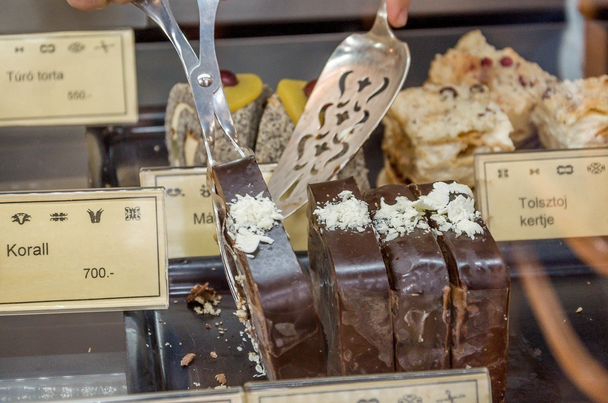 """During the culinary walk with Taste Hungary, we stopped at Cafe Auguszt to sample the various cakes, including the """"cake of the year."""""""