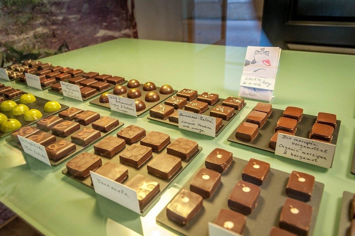 Sampling gourmet chocolates on a Taste Hungary Budapest food tour.