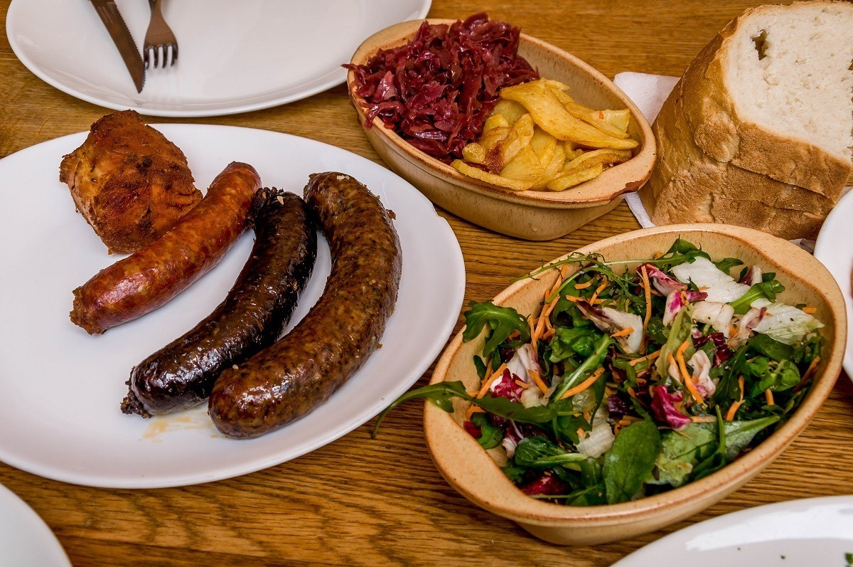 Lunch at the Downtown Pig Feast on a Budapest food tour with Taste Hungary and Jayway Travel.