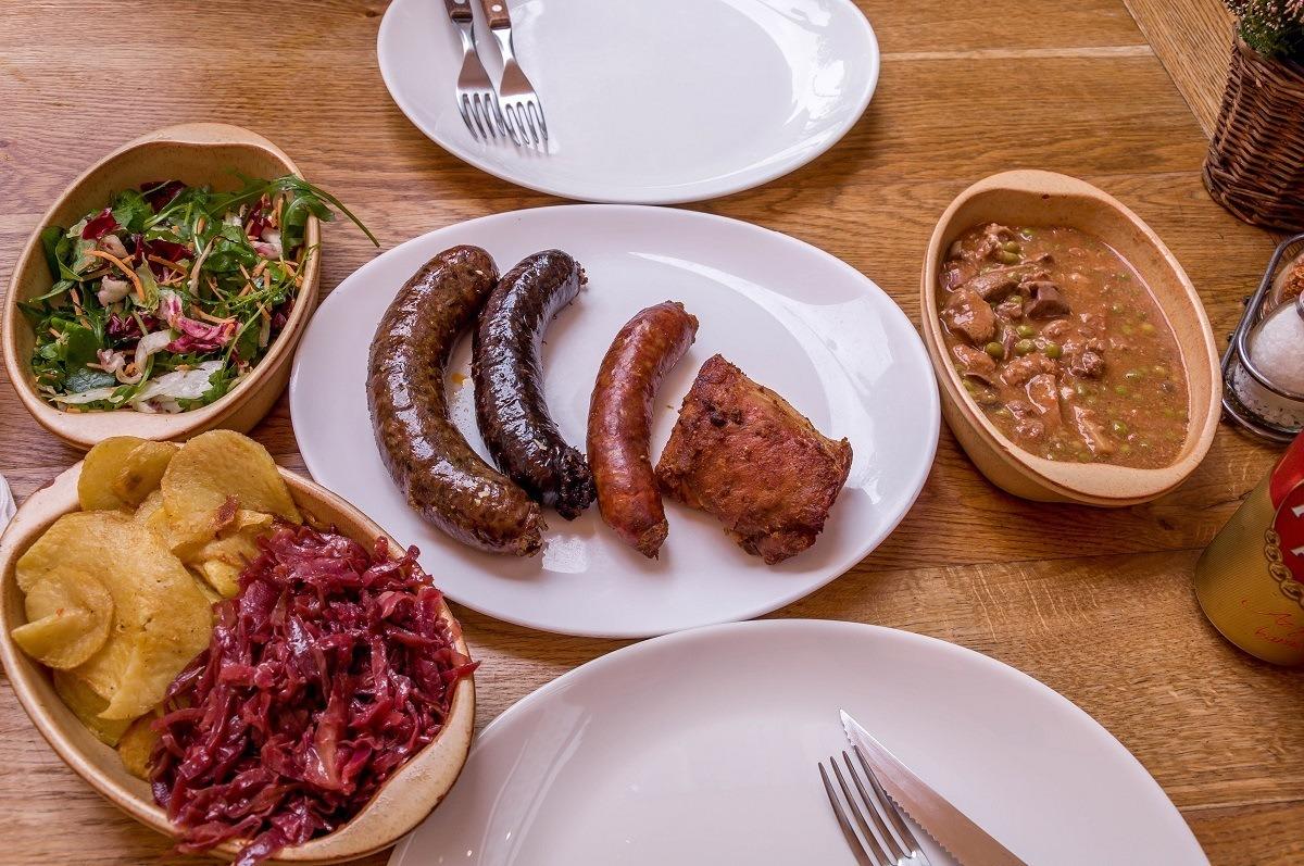 Lunch at Belvárosi-Disznótoros on a Budapest food tour.
