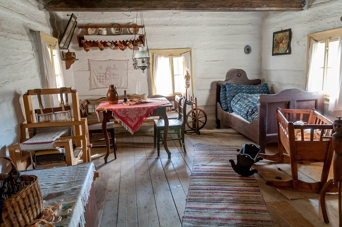 A bedroom in a traditional Slovakian home in the village of Vlkolinec