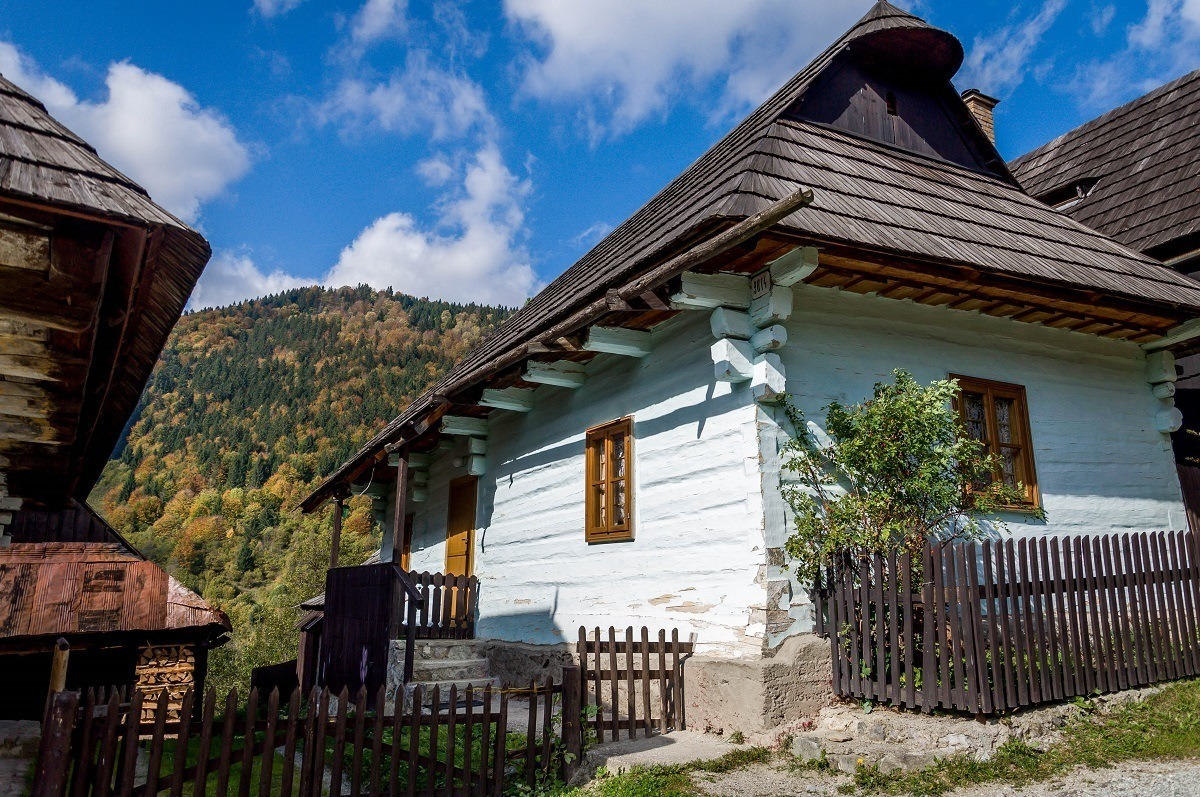 A blue home in a traditional village in Slovakia