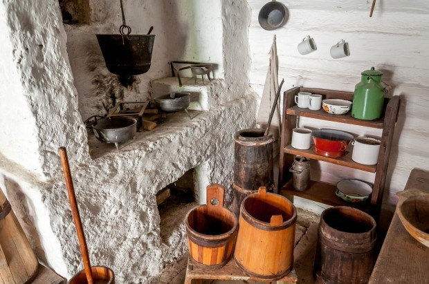 A traditional kitchen in the village of Vlkolinec.