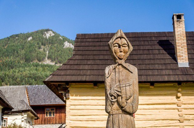 Carved wooden statue in the village of Vlkolinec, Slovakia.