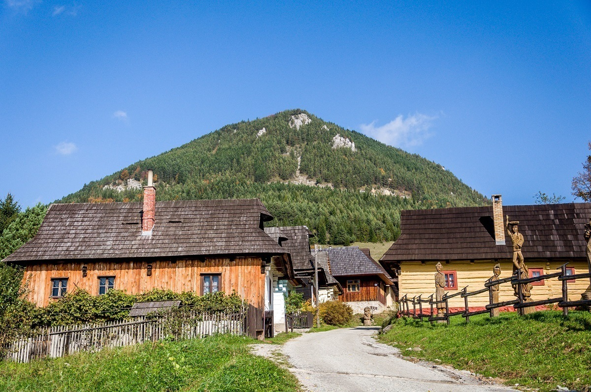 The Sidorovo hill towering above the village of Vlkolinec, Slovakia.