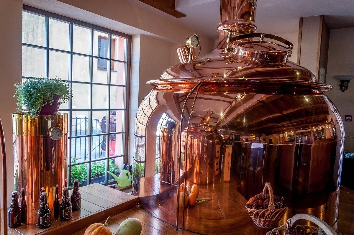 The mash tun at ERB Brewery Slovakia in Banska Stiavnica. Having lunch here was one of our favorite things to do in Banská Štiavnica Slovakia.