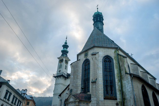 One of the Seven Wonders of Banska Stiavnica:  The Town Hall Clock Tower (with Church of St. Catherine's).