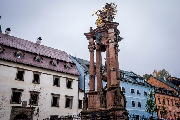 The monument to victims of the plague in Holy Trinity Square in Banska Stiavnica, Slovakia. This is one of the most important Slovakia landmarks dedicated to the plague.