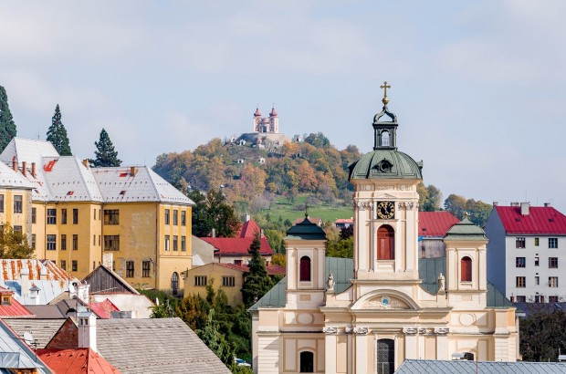 The skyline of Banska Stiavnica, Slovakia - a UNESCO World Heritage Site.