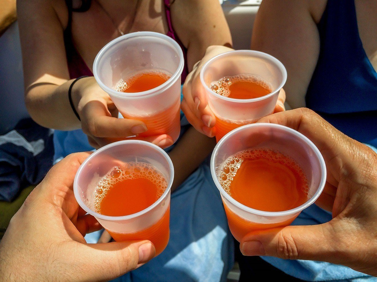 Four glasses of rum punch