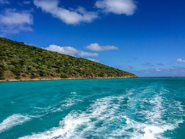 Sailing out of the Buck Island St Croix lagoon on our Big Beards snorkel trip.