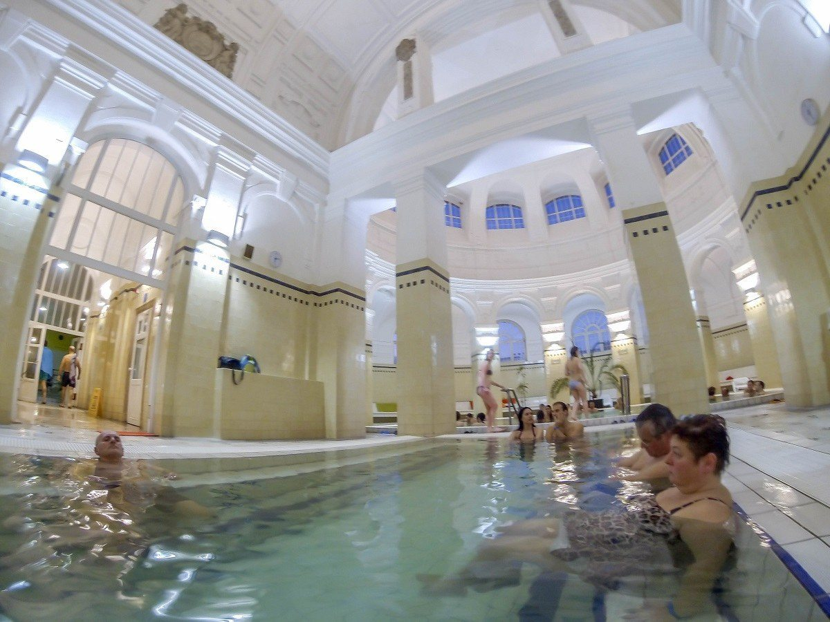 Indoor thermal pools at the Szechenyi Spa - the largest of the Budapest baths.
