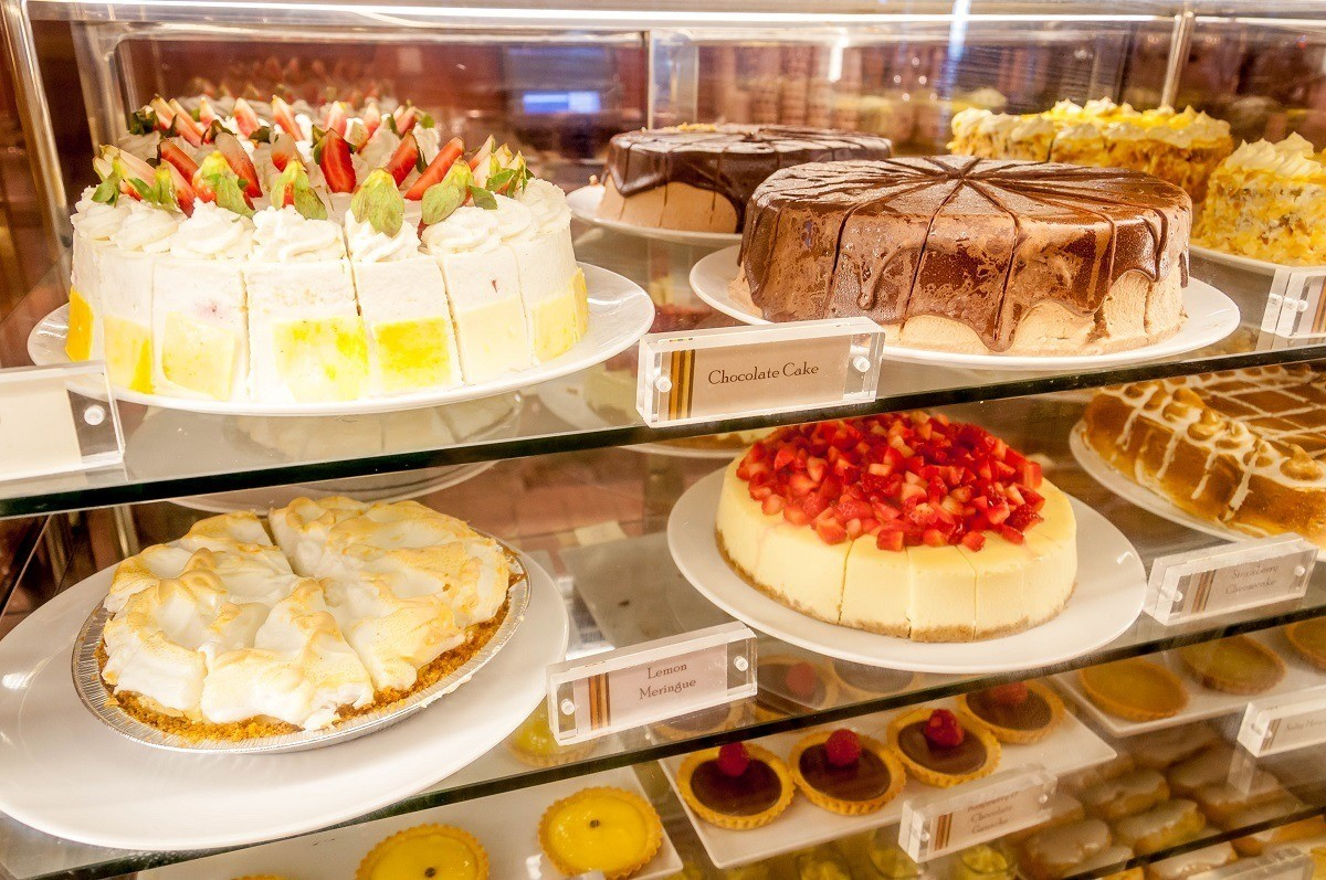 Cakes in a display case in the Cafe al Bacio cafe