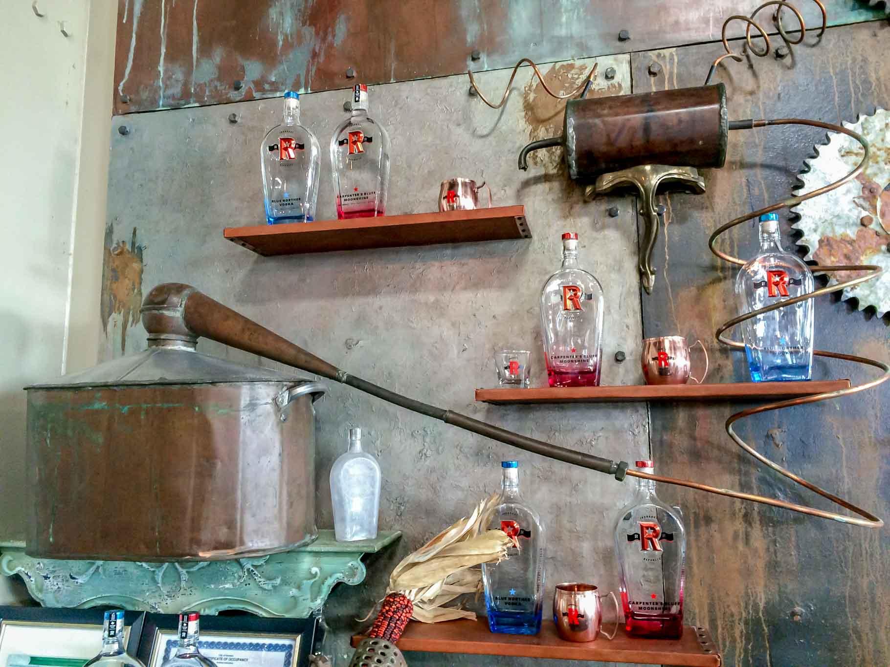 Moonshine and vodka bottles