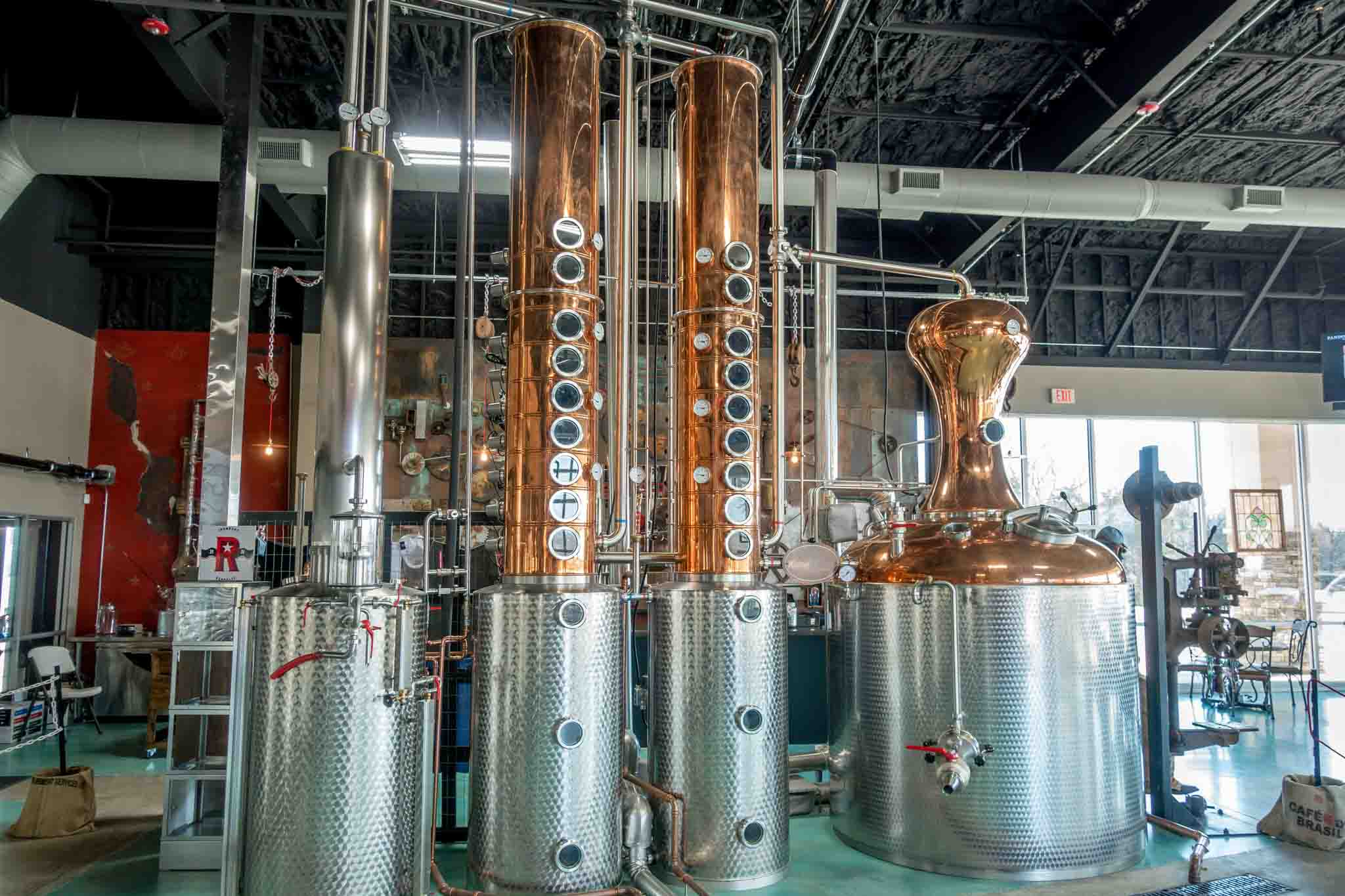 Vodka still at Ironroot Republic, one of the Texas distilleries