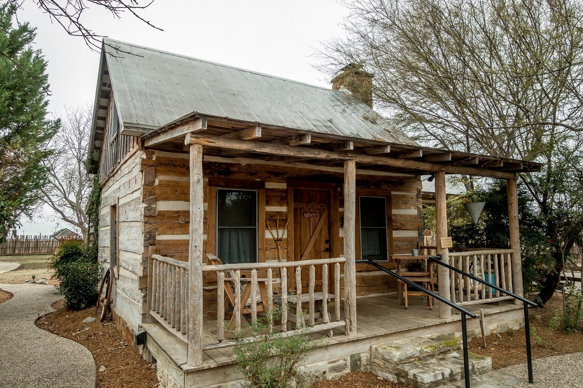 Exterior of Llano cabin at the Cotton Gin Village in Fredericksburg, Texas