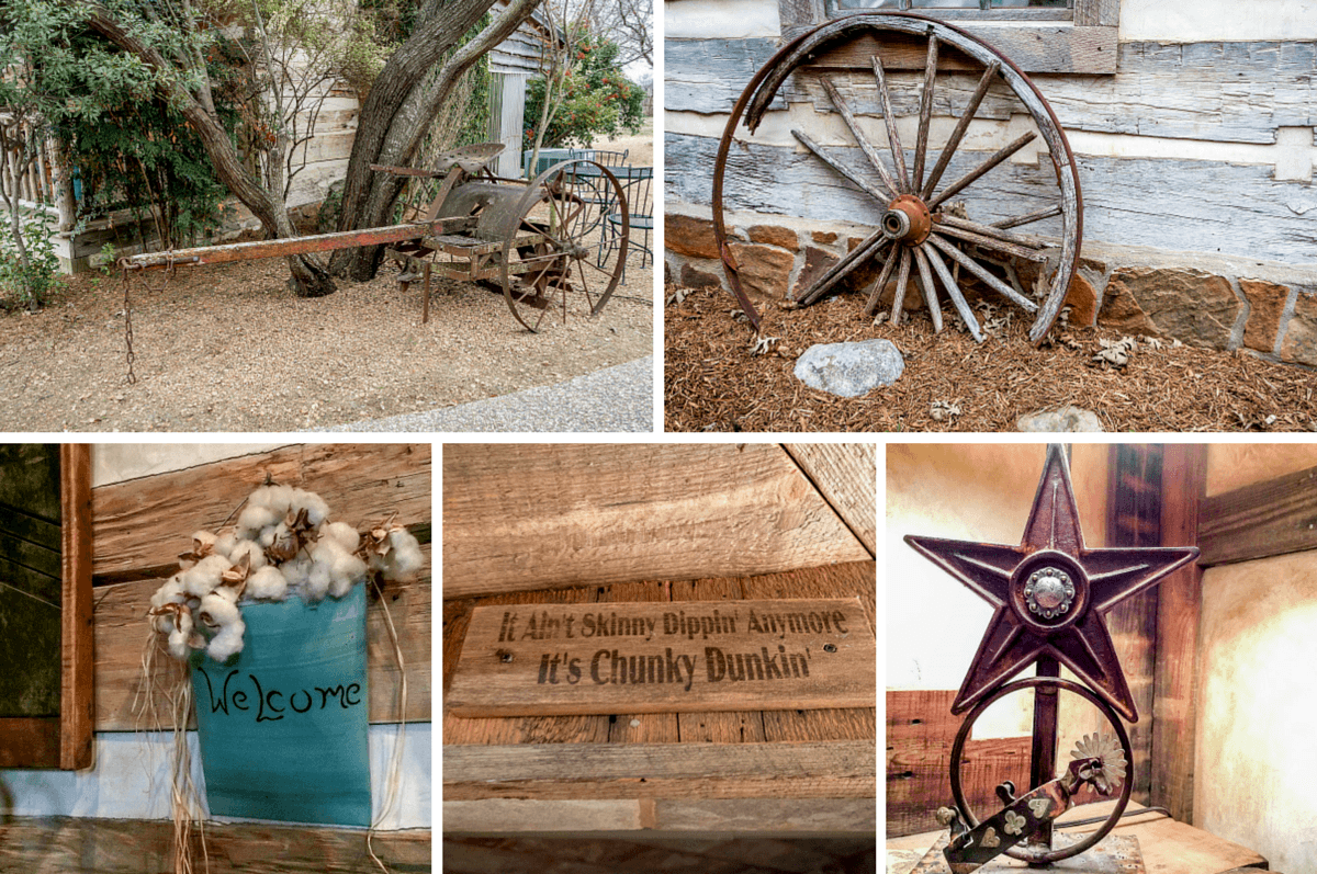Rustic decorations at the Cotton Gin Village