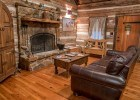 Living room of the Llano cabin at the Cotton Gin Village