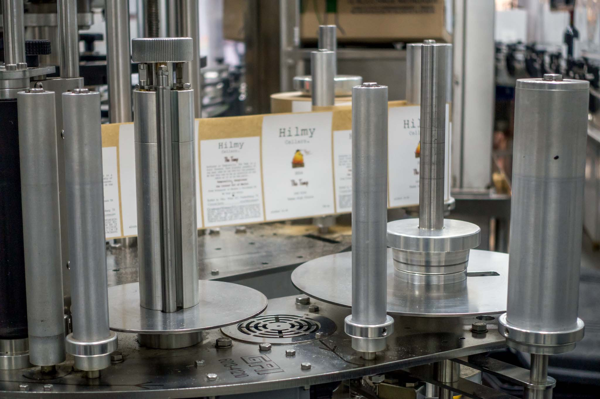 Bottling line and labels at Hilmy Cellars