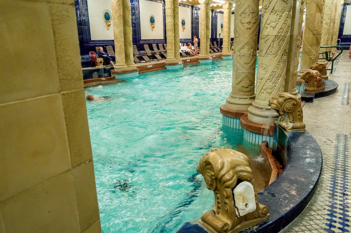The swimming pool inside Gellert, one of the Budapest thermal baths and hot springs.