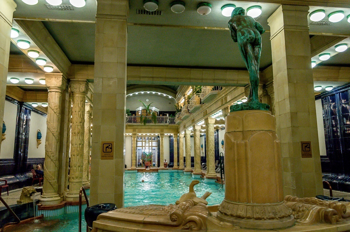 The pool inside the Gellert Spa - the best of the Budapest thermal baths.