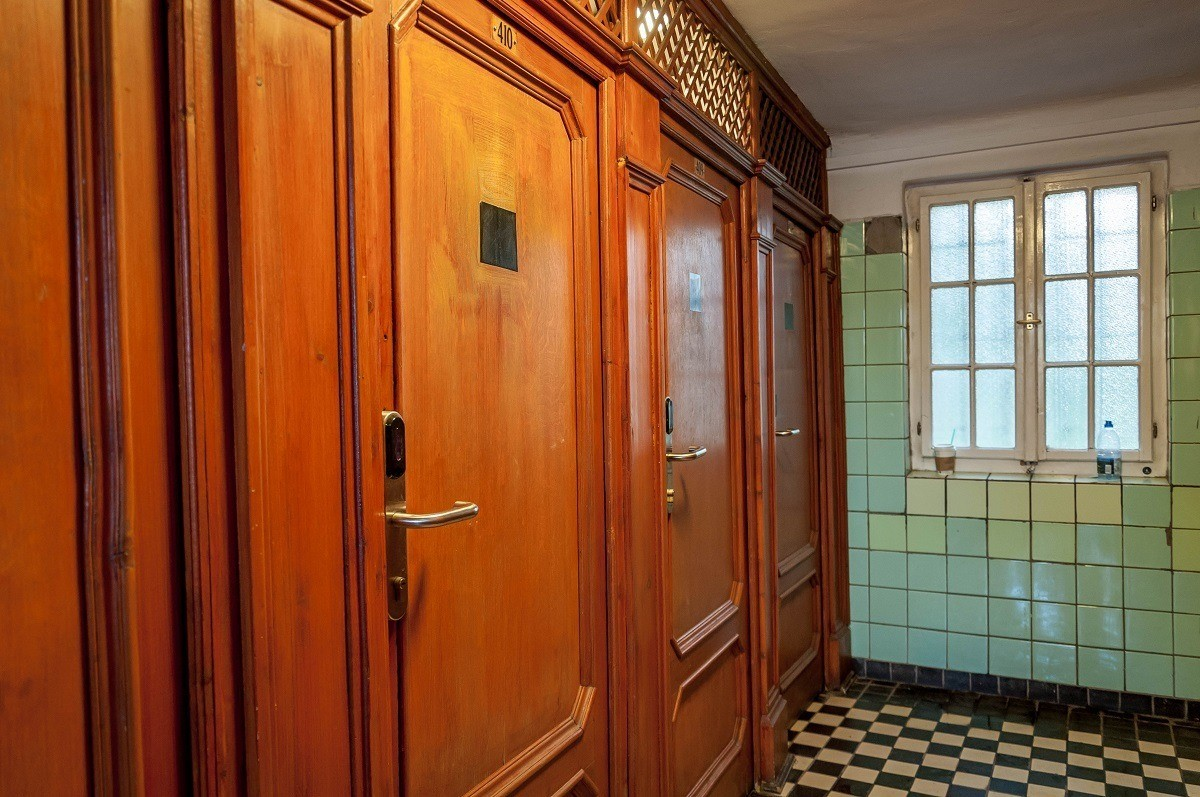 The private cabins at the Szechenyi Baths provide more storage space than the lockers.