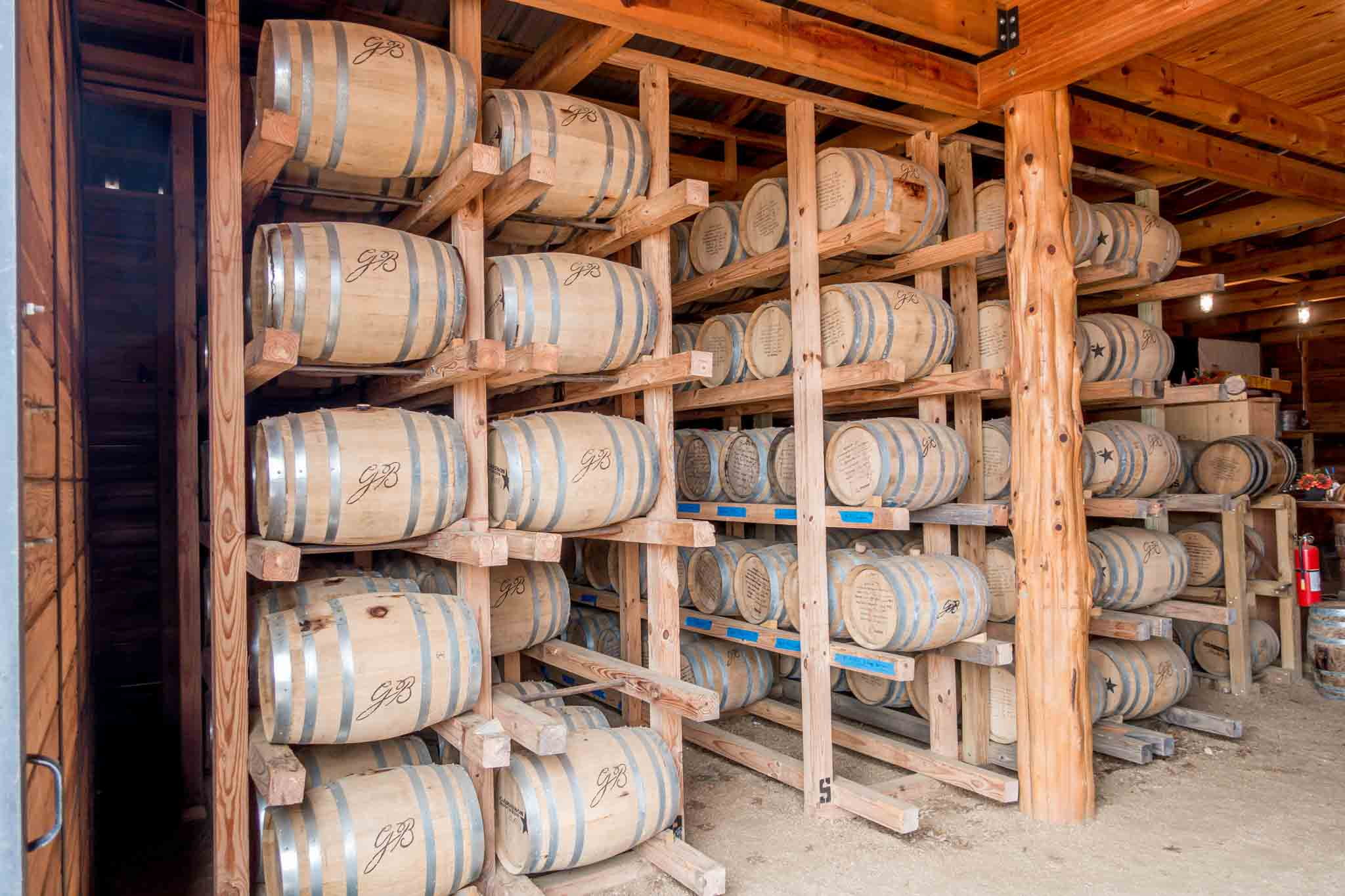 Barrels of Texas bourbon aging at Garrison Brothers, one of the Texas distilleries