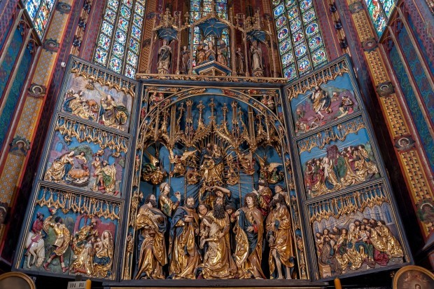 The altar in St. Mary's Basilica in Krakow, Poland.