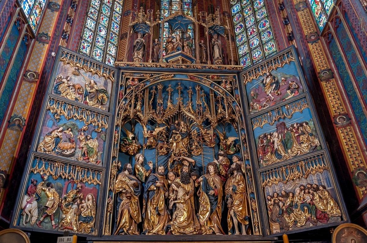 The altar in St. Mary's Basilica in Krakow, Poland.