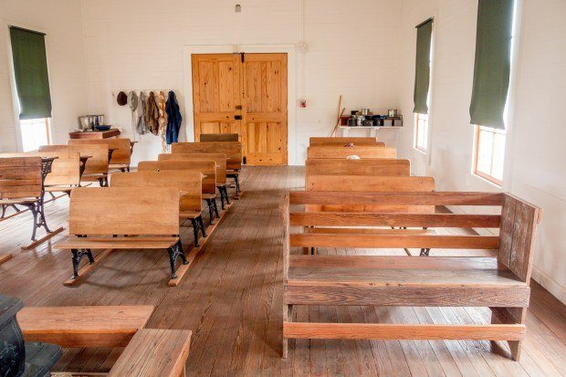 Inside school room at Lyndon B Johnson National Historical Park in Stonewall Texas