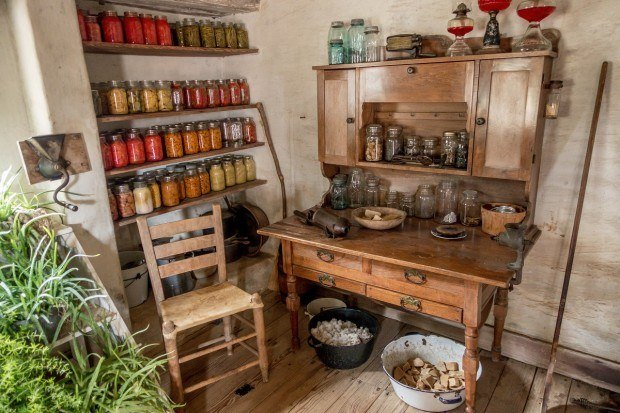 Kitchen full of preserved food at Sauer Beckmann Living History Farm