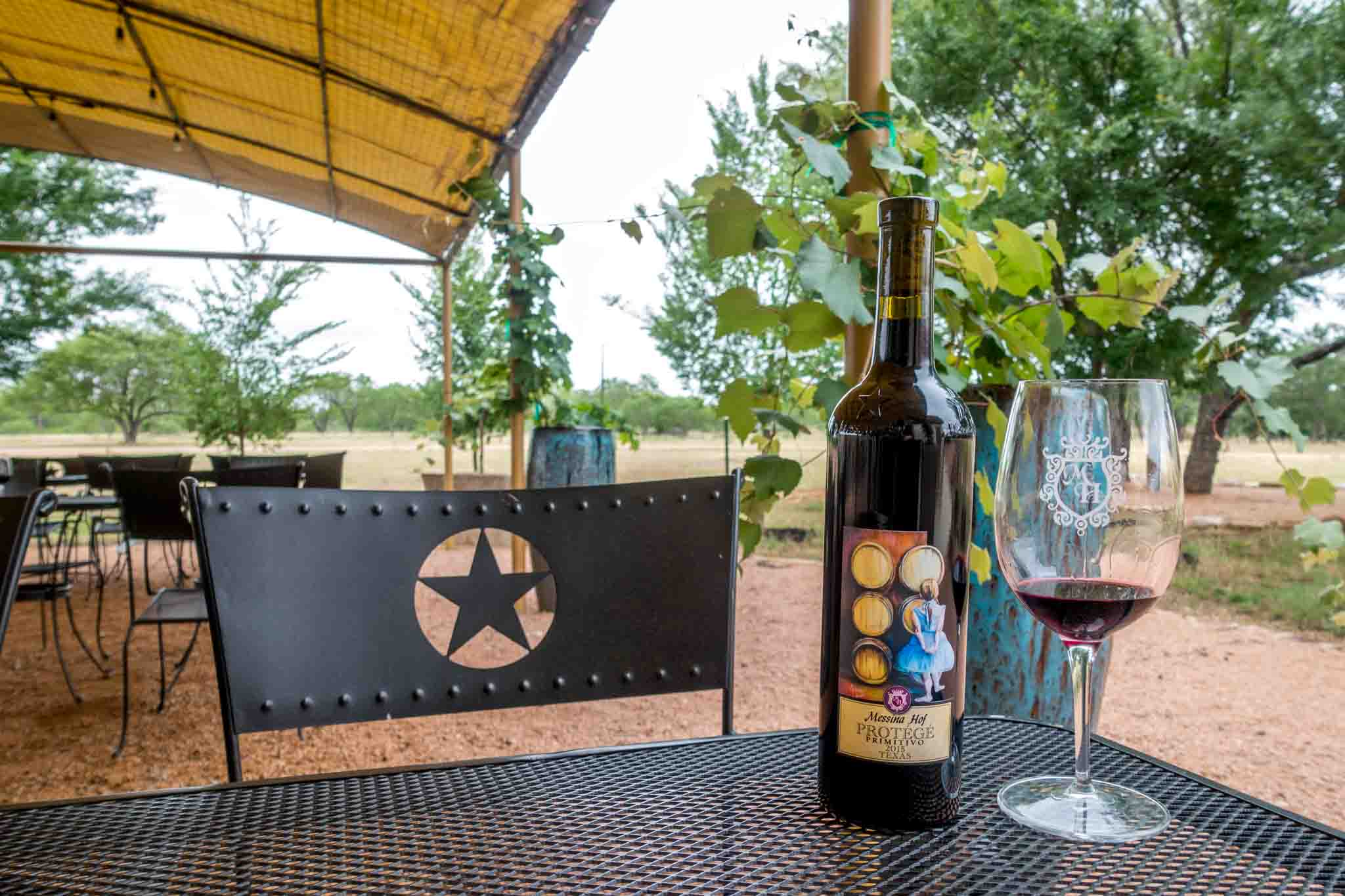 Wine on the patio at Messina Hof Hill Country