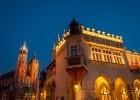 Krakow's Main Market Square and the Cloth Market at night.