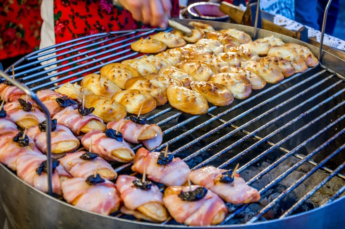 Grilled food being prepared at a festival in Krakow, Poland.