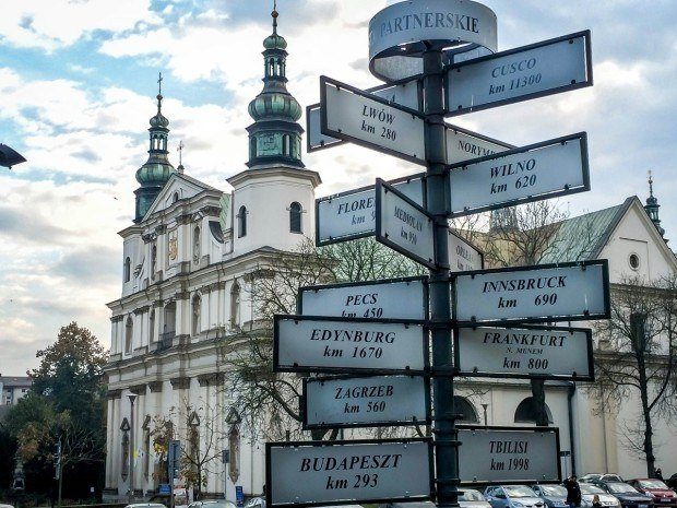 Location signs on our Krakow walking tour.