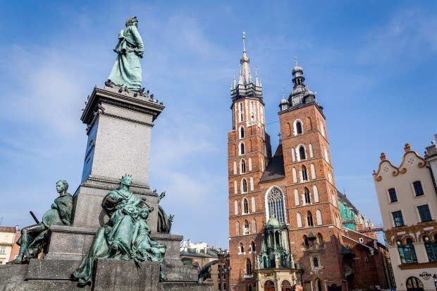 Krakow's Main Market Square and St. Mary's Basilica.