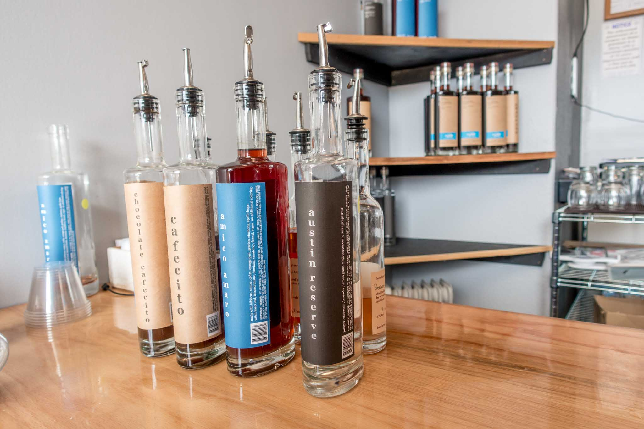 Revolution Spirits' gins and liqueurs at their Austin distillery