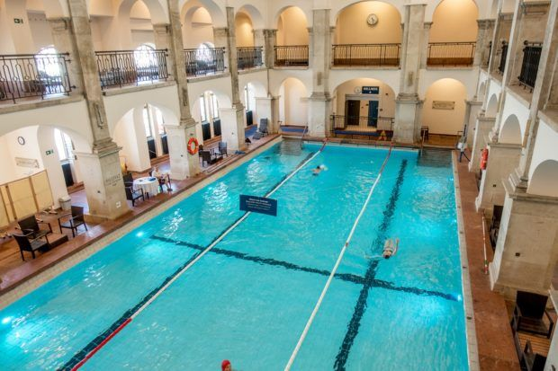 Indoor swimming pool at Rudas Baths in Budapest