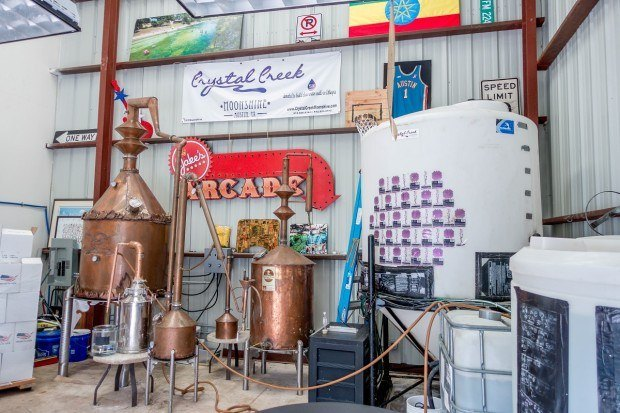 Still at Crystal Creek Moonshine, one of the unique Texas distilleries