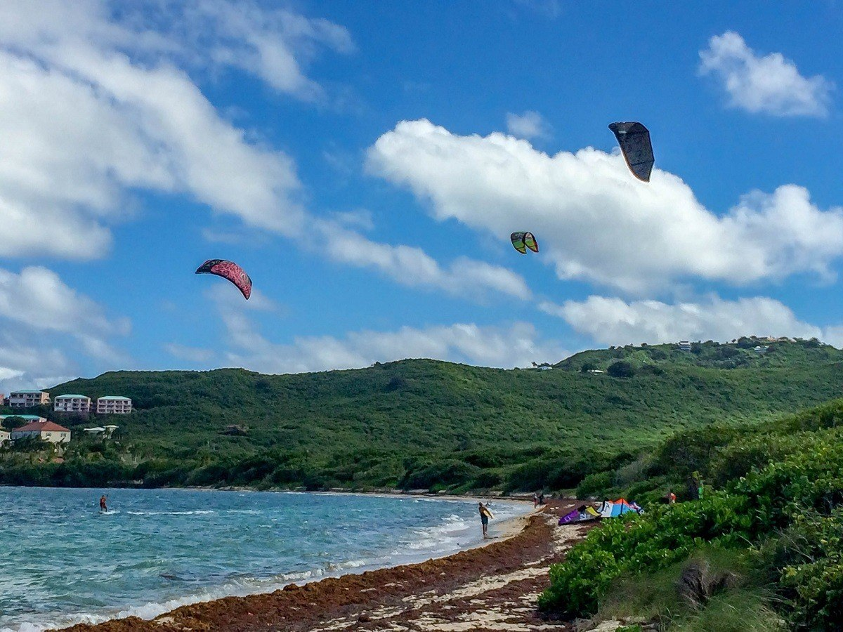 Kitesurfing on St Croix in the US Virgin Islands.