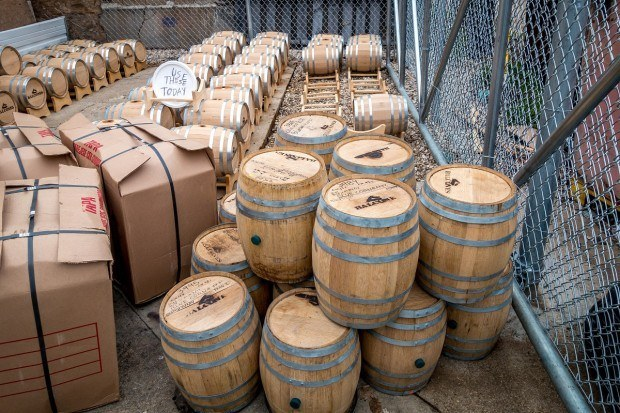 Five-gallon barrels at Balcones Distilling, a whiskey distillery in Texas