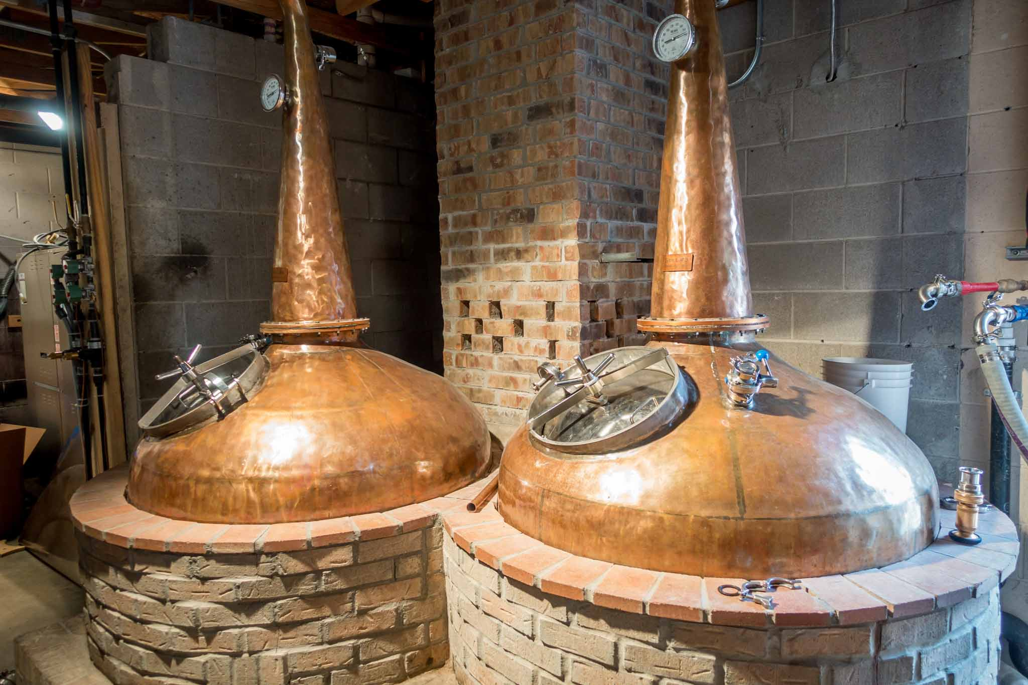 Stills at Balcones Distilling, one of the most well-respected Texas distilleries