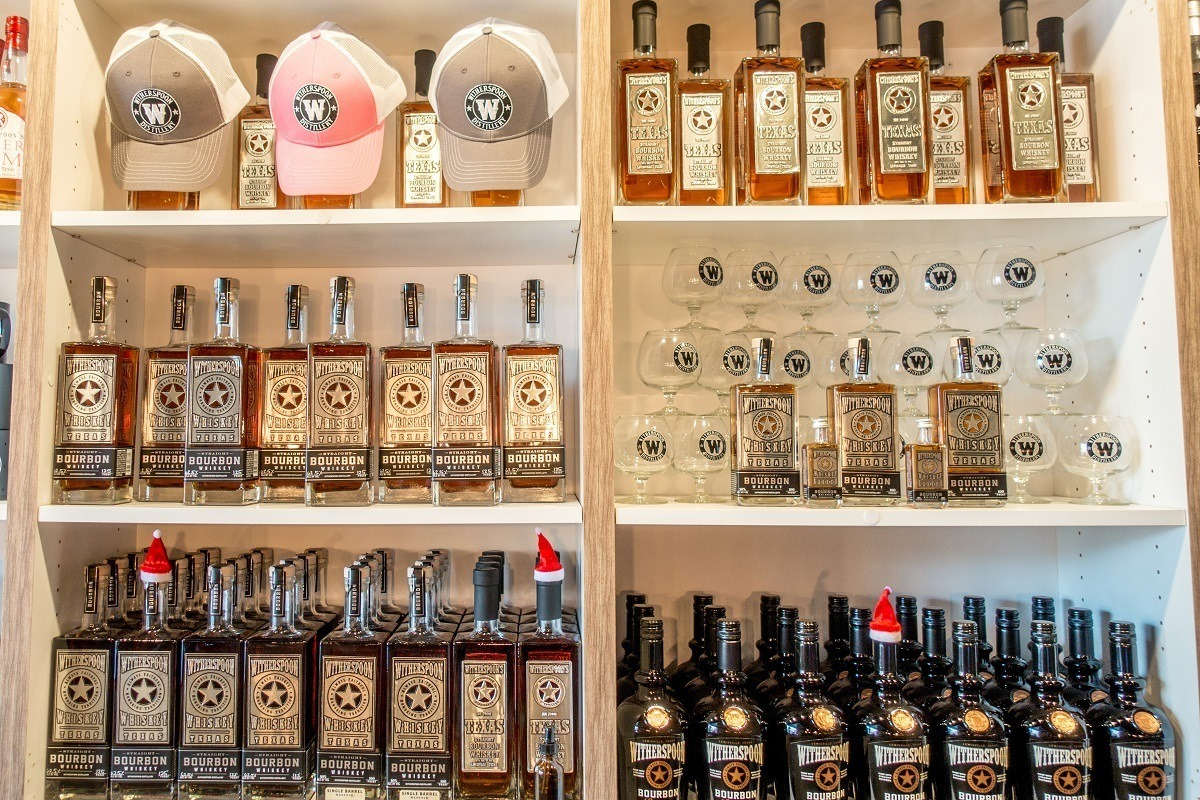 Texas bourbon and other products at Witherspoon Distillery, one of the distilleries in Texas near Dallas